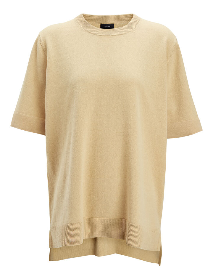 Calico Knit Top, in STRAW, large | on Joseph