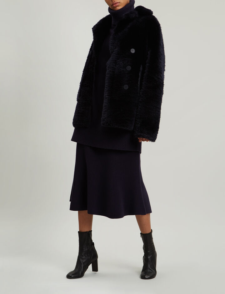 Joseph, New Hector Teddy Merinos Coat, in NAVY