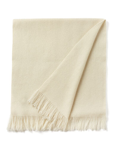 Cashmere Twill Fringe Scarf, in BONE, large | on Joseph