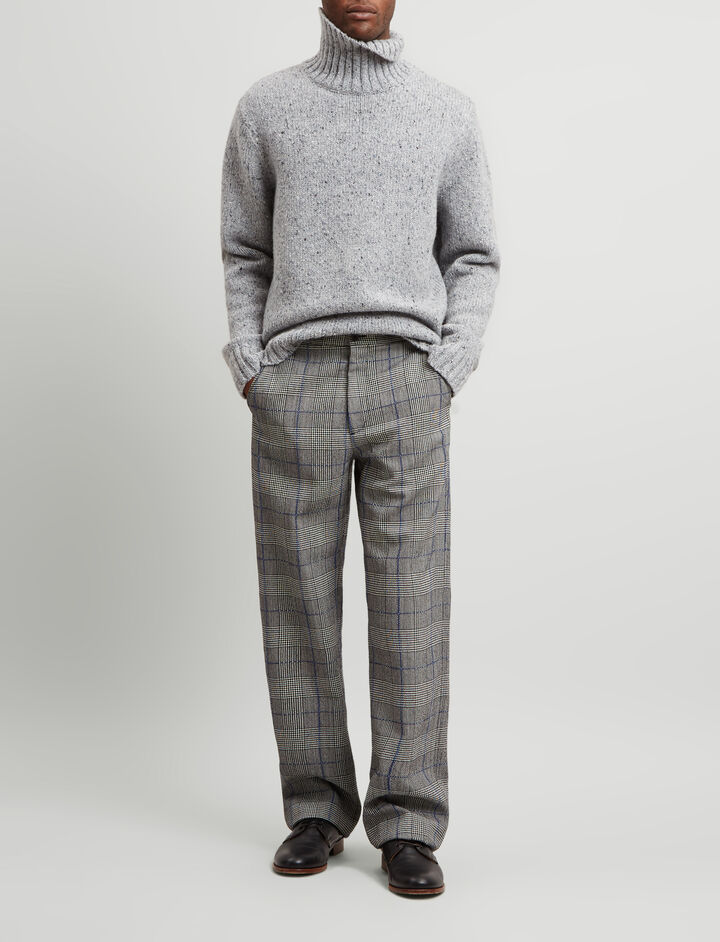 Joseph, Edgar Washed Textured Check Trousers, in CHARCOAL