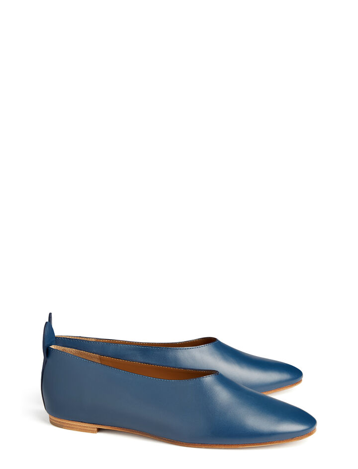 Calf Leather Ballerina, in BLUE, large | on Joseph