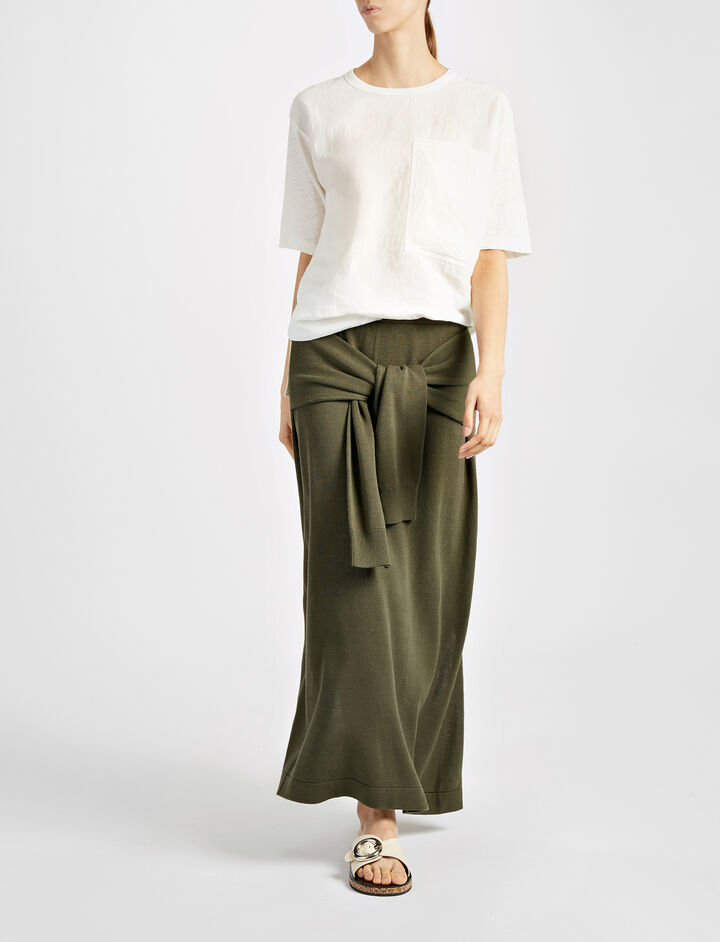 Cotton Tie Skirt, in MILITARY, large | on Joseph