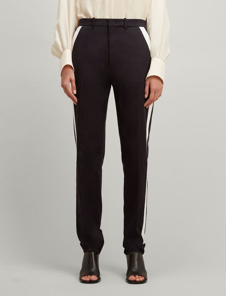 Twill Chino Fever Tuxedo Trousers, in NAVY, large | on Joseph