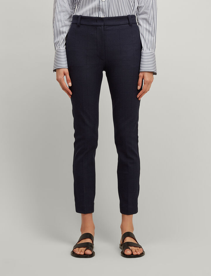 Gabardine Stretch Prince Of Wales Check Zoom Trousers, in NAVY, large | on Joseph