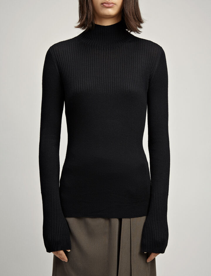 Wool Cashmere High Neck Knit, in BLACK, large | on Joseph