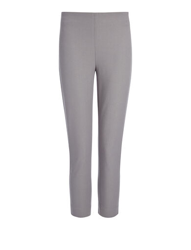 Gabardine Stretch New Tony Cropped Trouser, in GREY, large | on Joseph