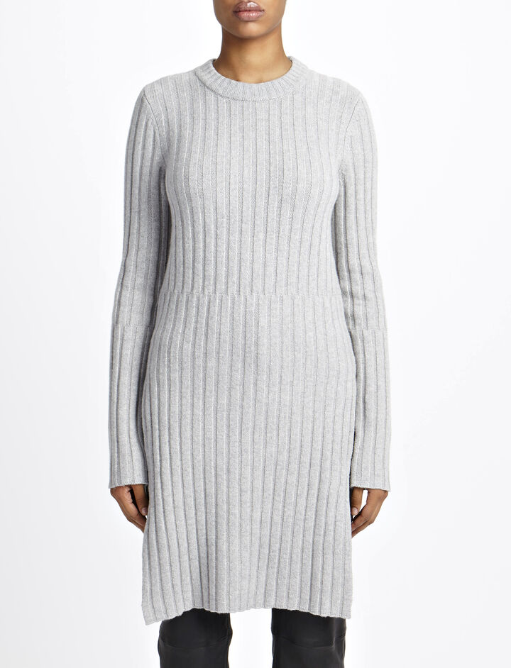 Soft Wool Rib Tunic, in CONCRETE, large | on Joseph