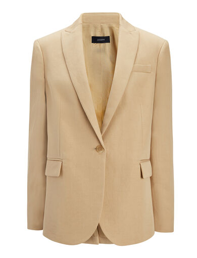 Ramie Cotton Savoy Jacket, in CAMEL, large | on Joseph