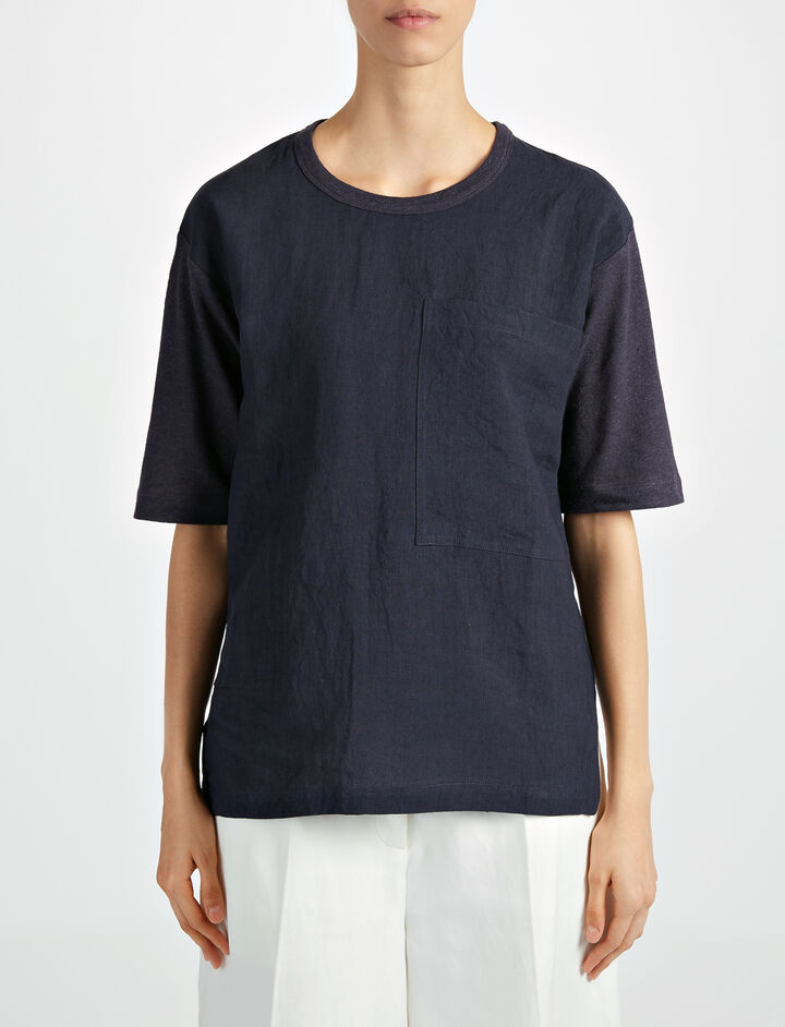 Vintage Linen Jersey Tee, in NAVY, large | on Joseph