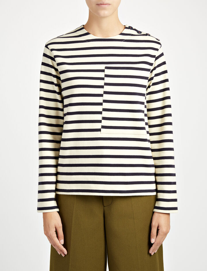 Breton Stripe Top, in NAVY, large | on Joseph