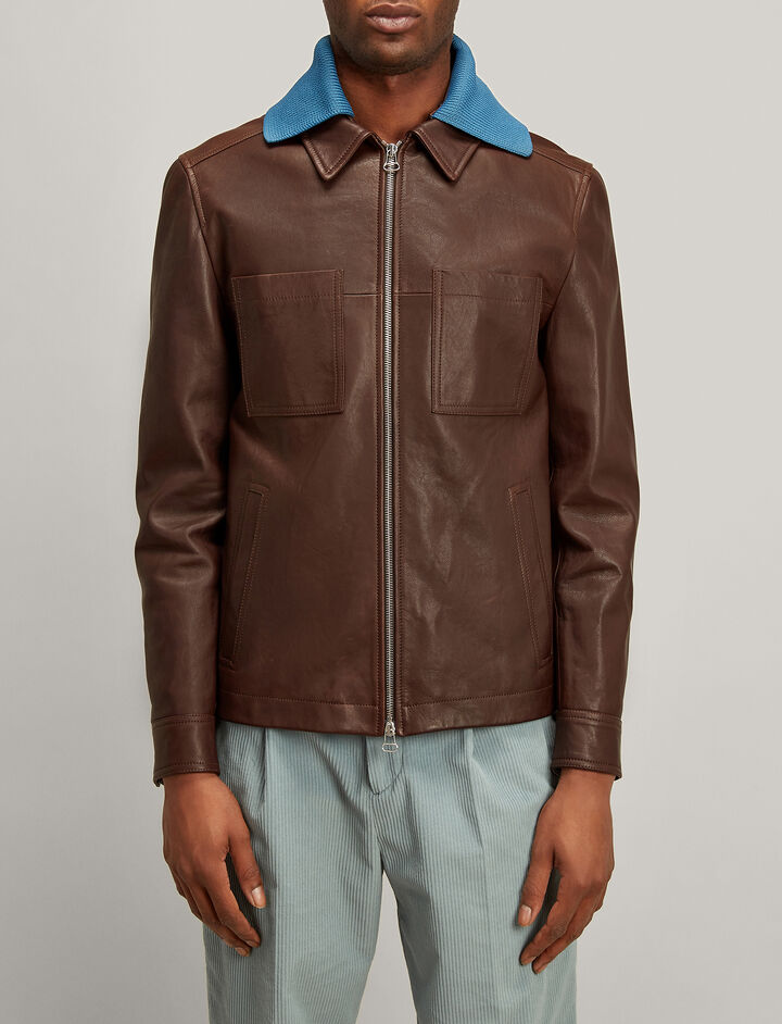 Joseph, Grain Leather Morgan Jacket, in WALNUT