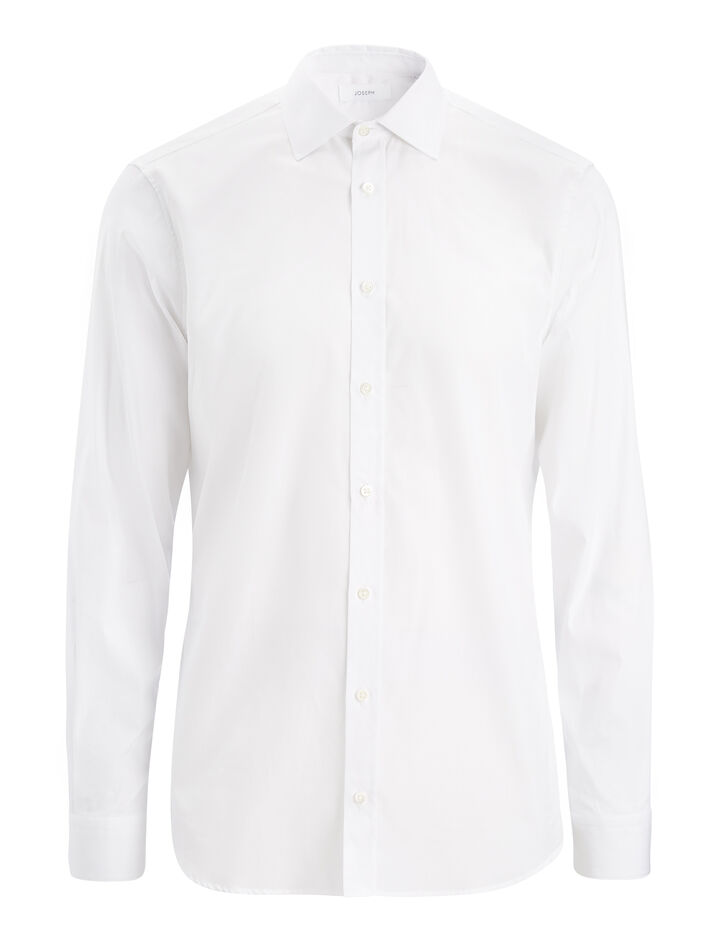 Chemise Cecile en popeline stretch, in WHITE, large | on Joseph