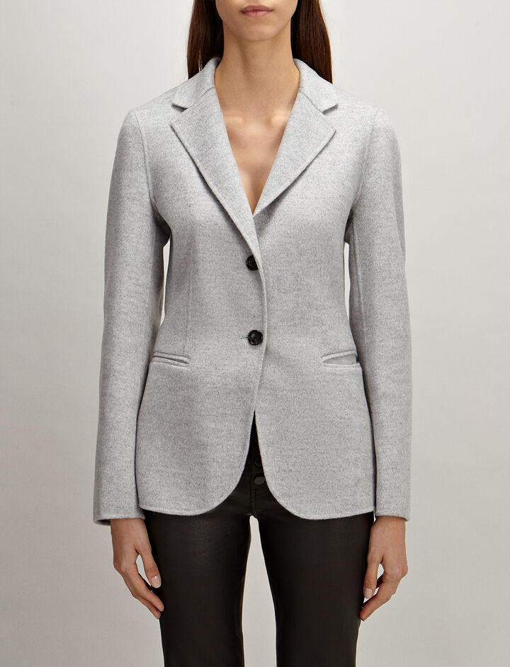 Light Double-Cashmere Archi Coat , in GREY, large | on Joseph