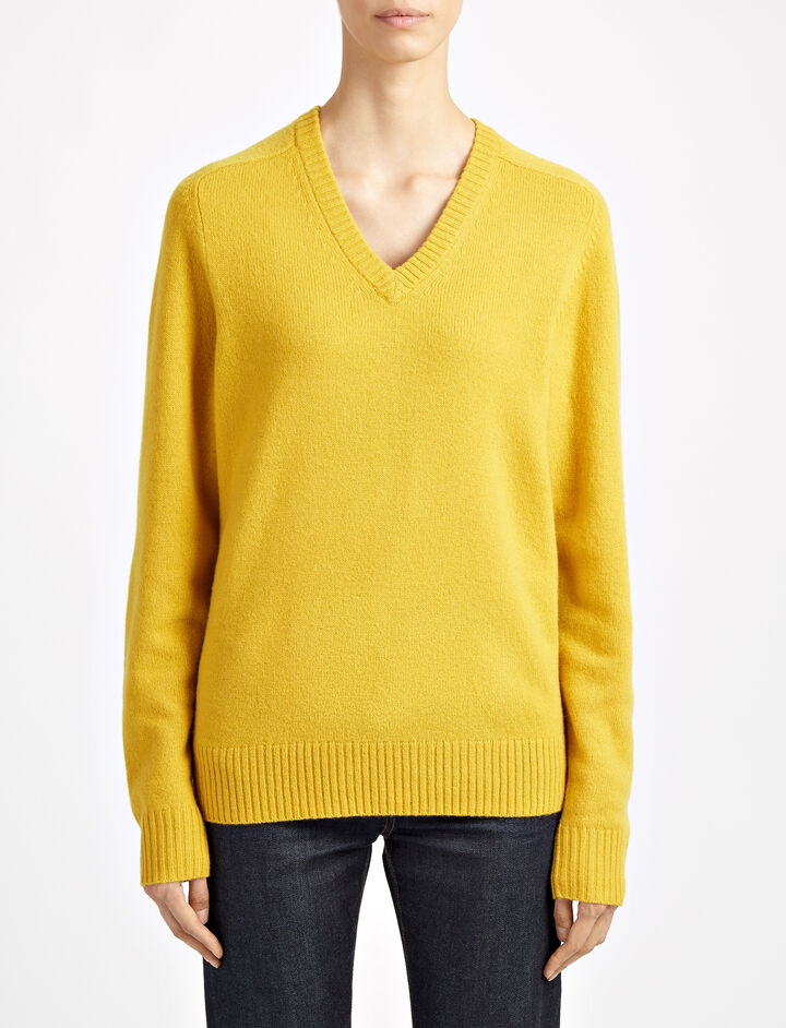 Pure Wool Knit V Neck Sweater, in YOLK, large | on Joseph