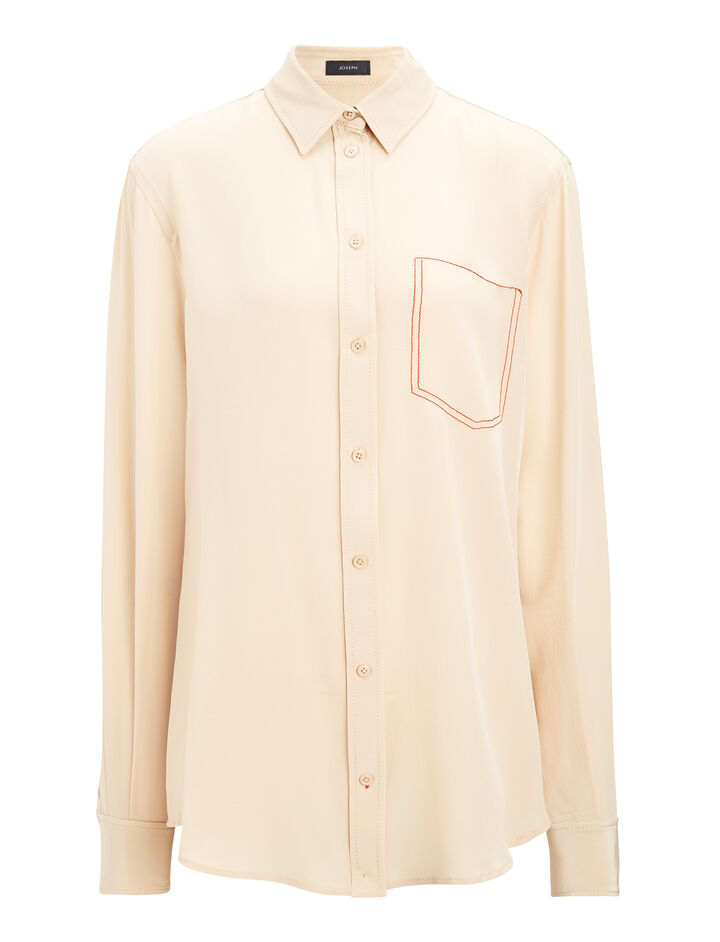 Crepe de Chine New Garçon Blouse, in STOCKING, large | on Joseph