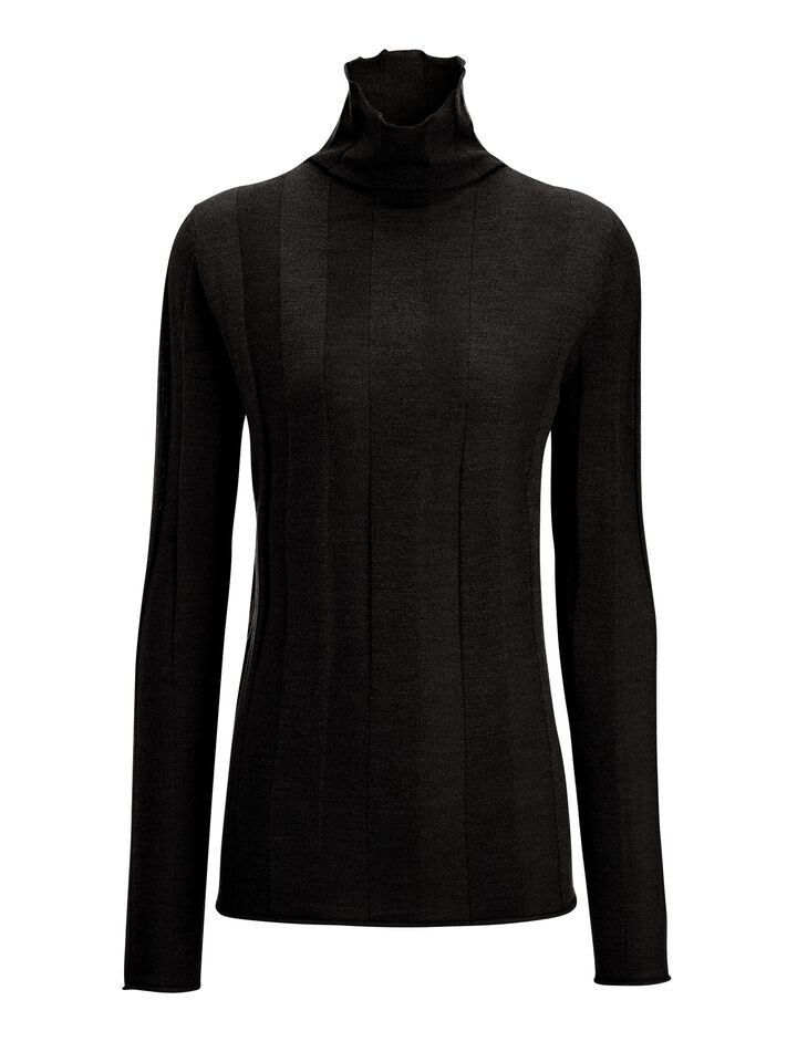 Fine Merinos High Neck Rib Sweater, in BLACK, large | on Joseph