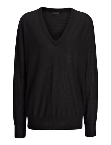 Cashair V Neck Sweater, in BLACK, large | on Joseph