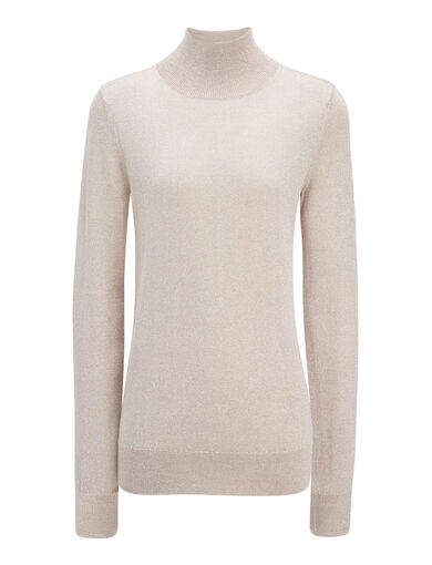Lurex Knit High Neck Sweater, in SAND, large | on Joseph