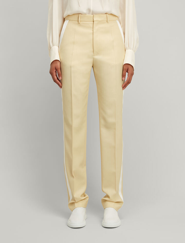 Grain de Poudre Fever Tuxedo Trousers, in CUSTARD, large | on Joseph