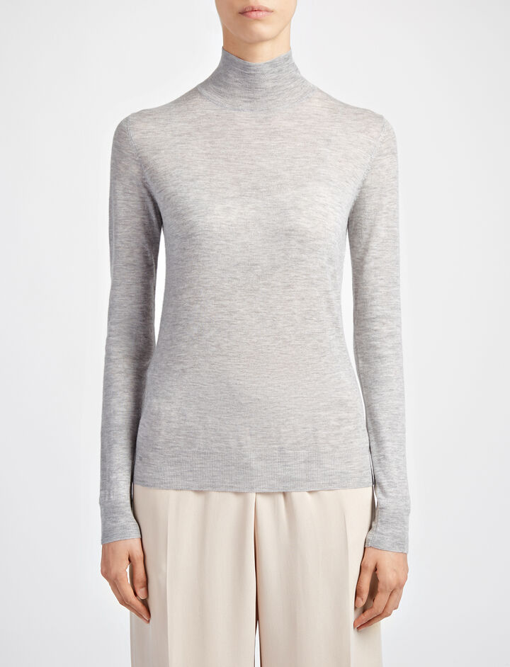 Joseph, Cashair High Neck Sweater, in CONCRETE