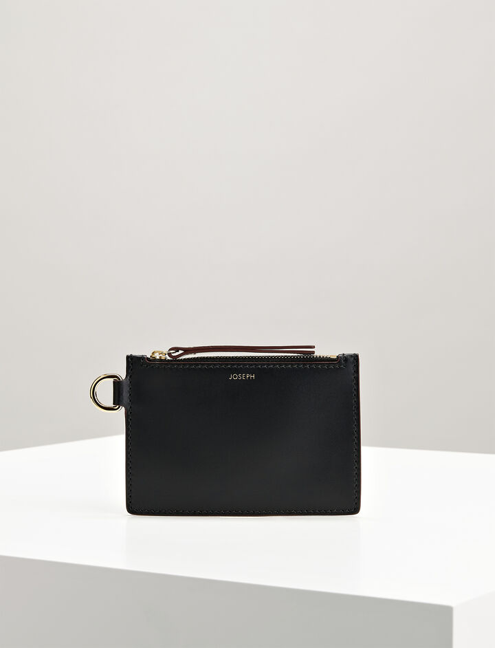 Joseph, Calf Leather Coin Purse, in BLACK