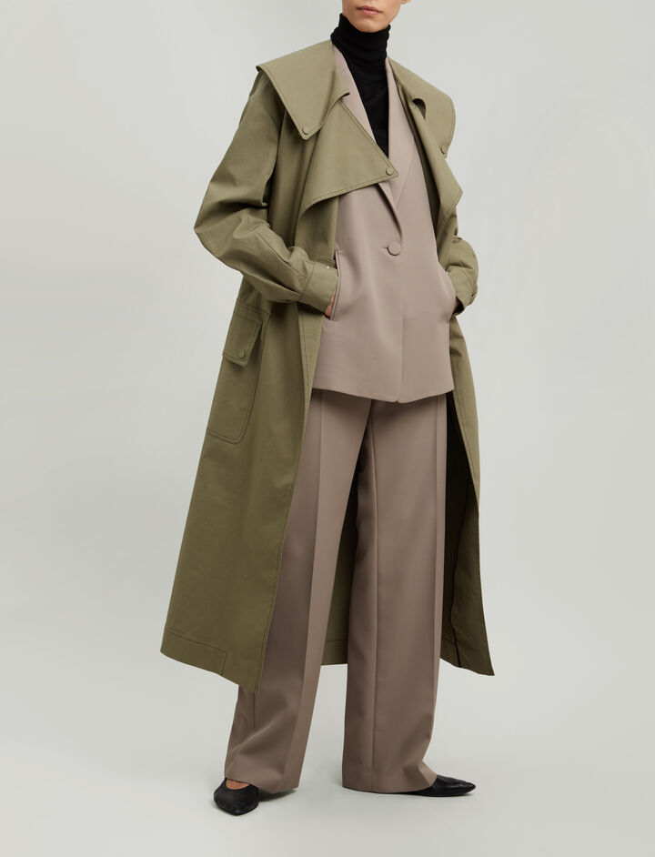 Joseph, Damon Trench Cotton Coat, in ARMY