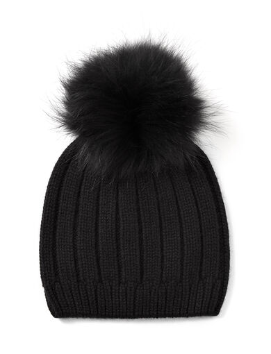 Cashmere Luxe Pompom Hat, in BLACK, large | on Joseph