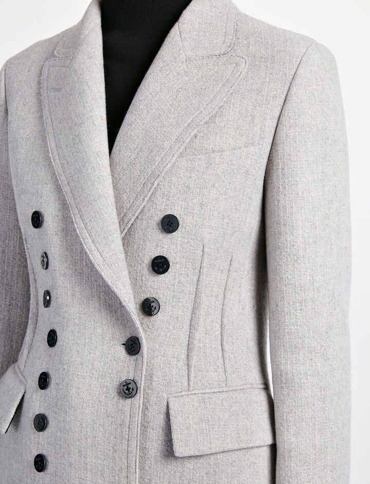 Manteau New Jacky en point corbeille d'osier, in GREY, large | on Joseph