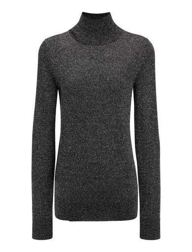 Lurex Knit High Neck Sweater, in BLACK, large | on Joseph