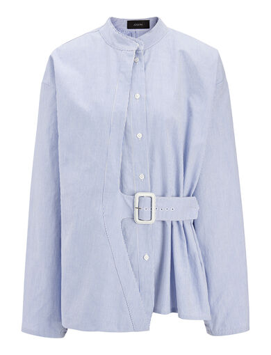 Single Stripe Cotton Jason Blouse, in BLUE, large | on Joseph