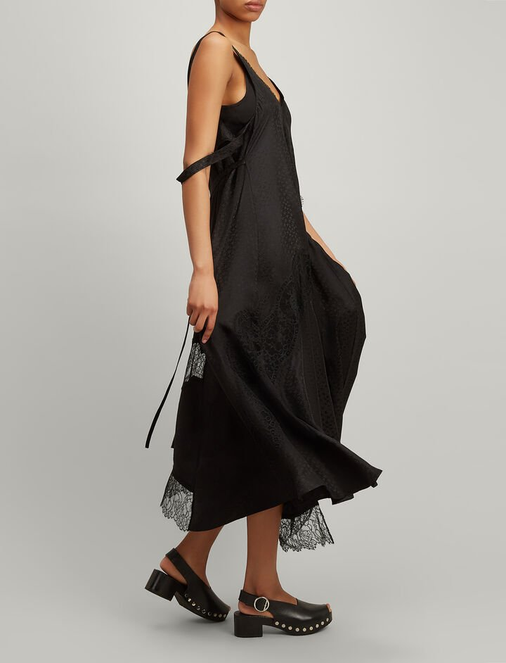 Mix Lace Bronte Dress, in BLACK, large | on Joseph