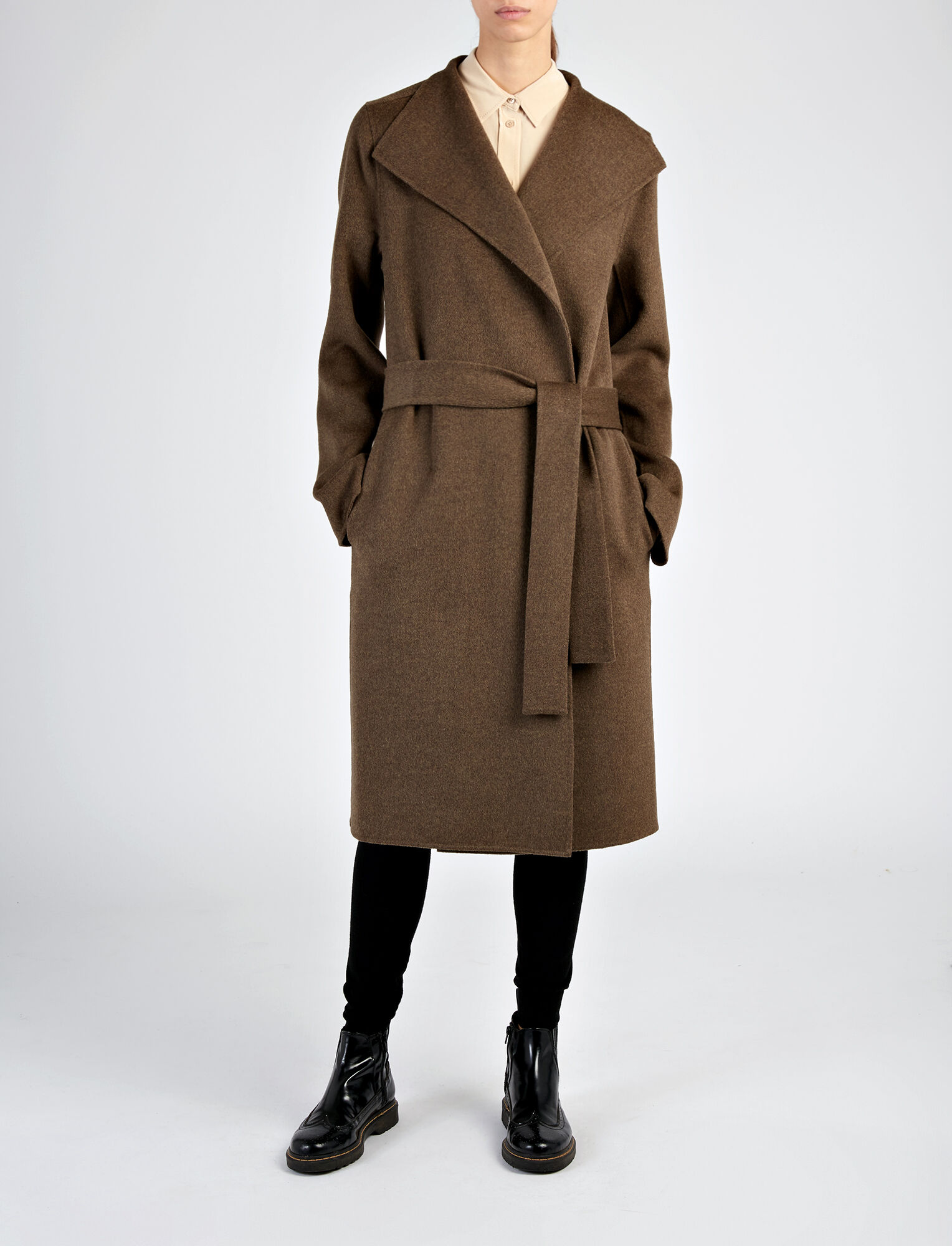 Double Face Cashmere Lima Coat, in MILITARY, large | on Joseph