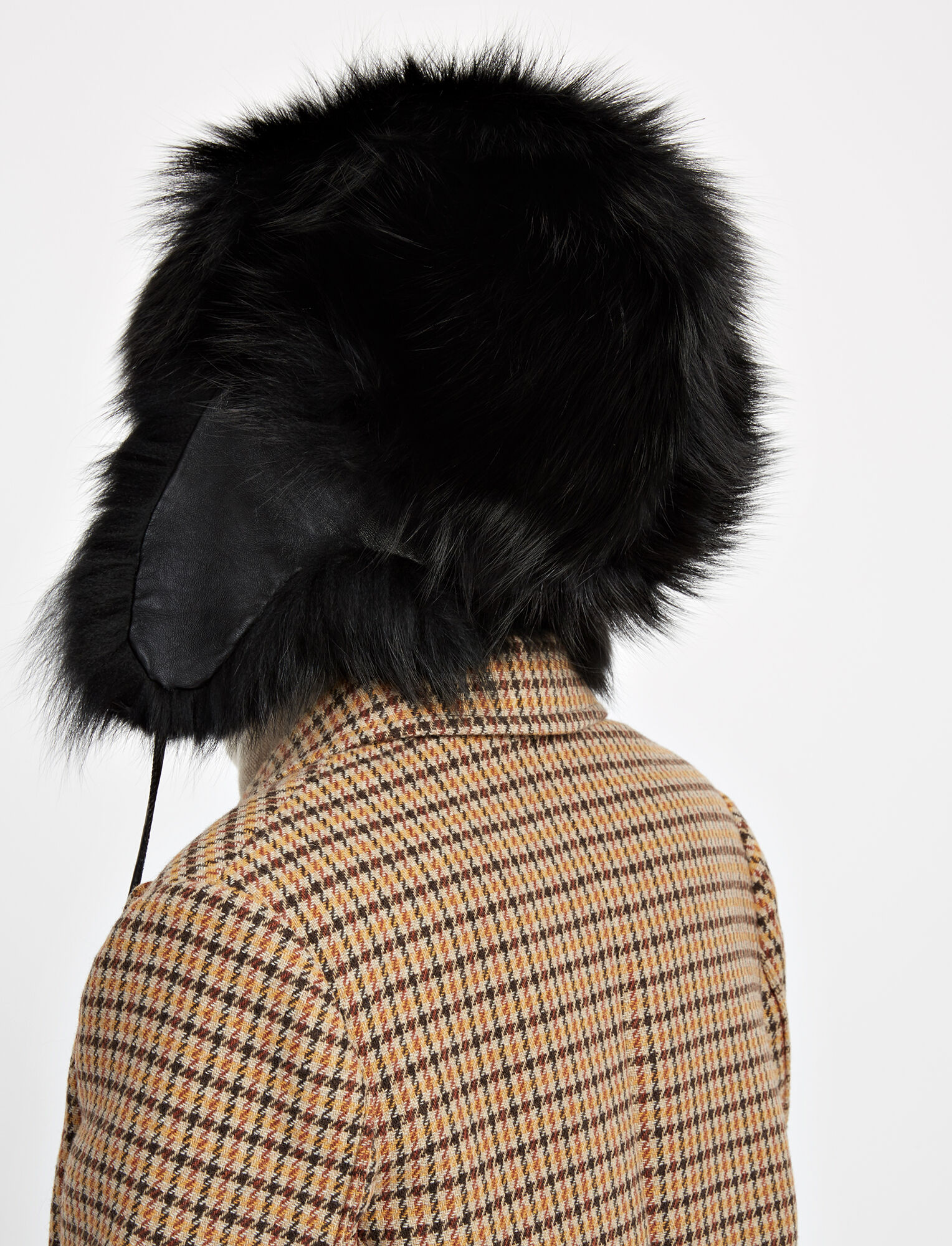 Chapka Fox Fur Hat, in BLACK, large | on Joseph
