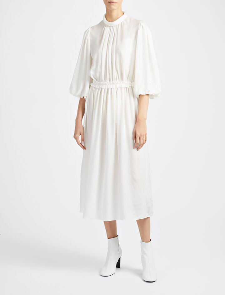 Cupro Owen Long Dress, in WHITE, large | on Joseph
