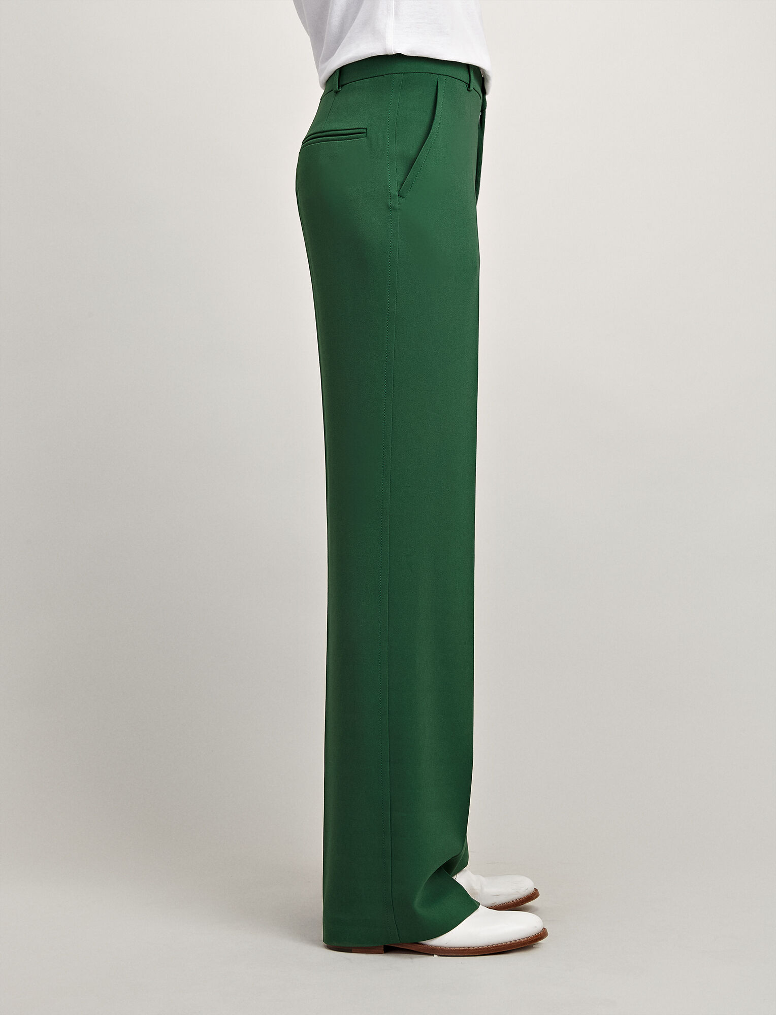 Viscose Cady Ferdy Trousers, in EMERALD, large | on Joseph