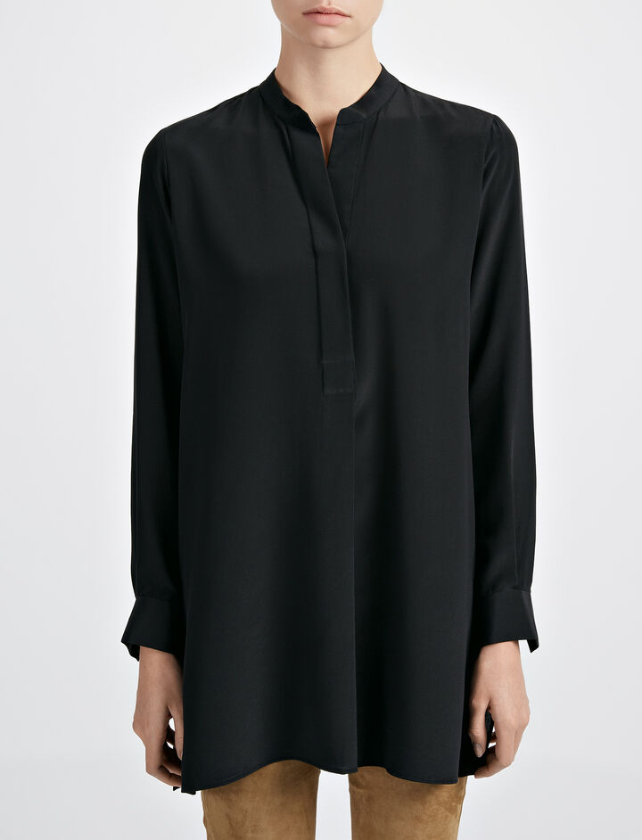 Crepe de Chine New Dara Blouse, in BLACK, large | on Joseph