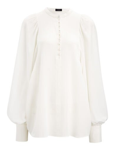 Crepe de Chine Aima Blouse, in Chalk, large | on Joseph