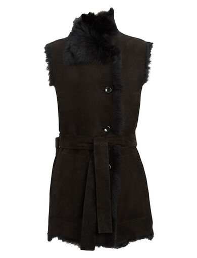 Long Hair Toscana Lima Gilet, in BLACK, large | on Joseph