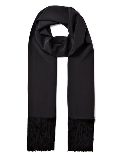Crepe de Chine Silk Tassle Scarf, in BLACK, large | on Joseph