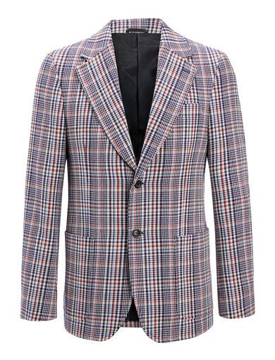 Elton Check Garvan Jacket, in NAVY, large | on Joseph