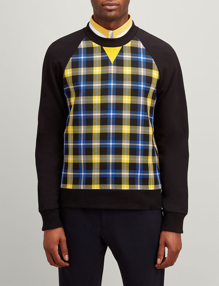 Jersey + Check Sweatshirt, in BLACK/COBALT, large | on Joseph