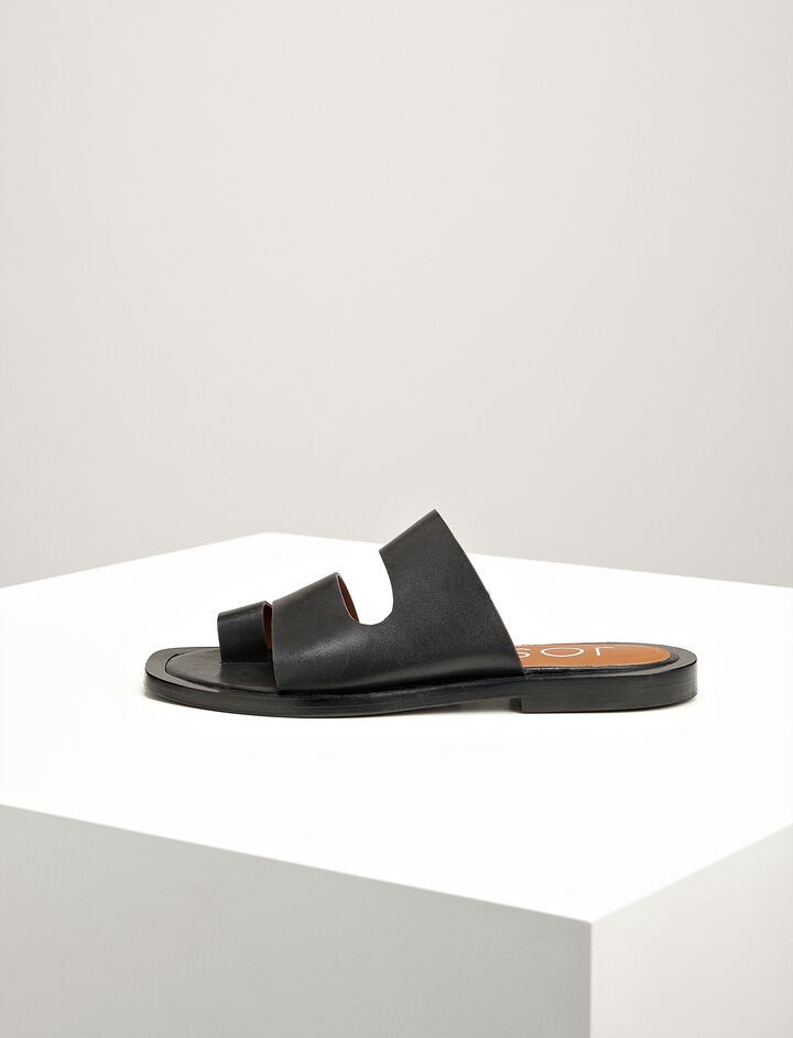 Joseph, Leather Santorini Slides, in BLACK