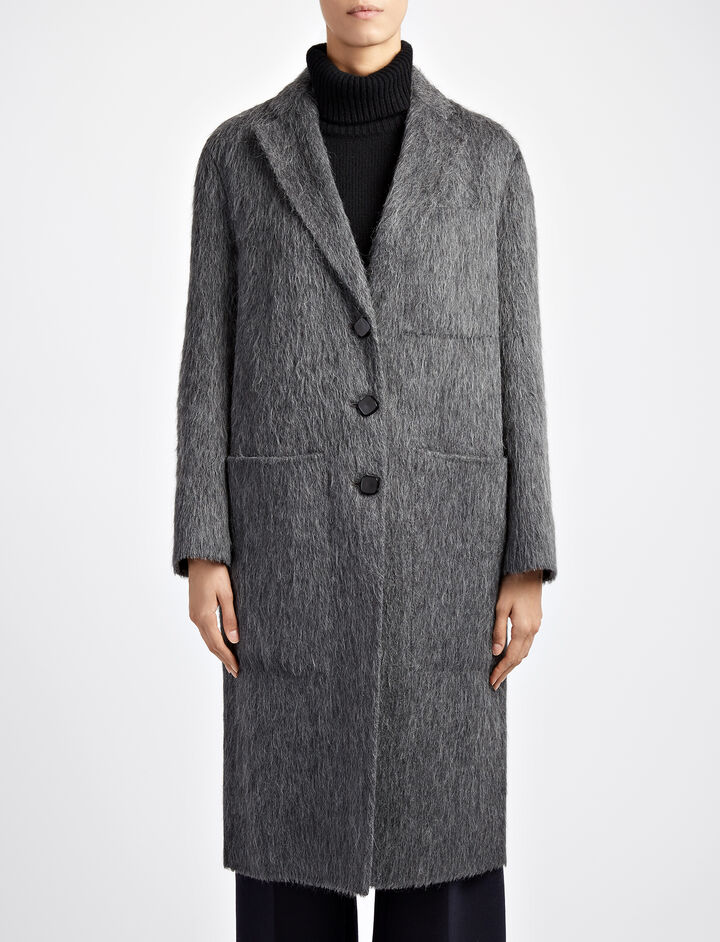 Double Alpaca Jimo Coat, in GRAPHITE, large | on Joseph