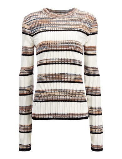 Techno Cotton Stripe Sweater, in ECRU COMBO, large | on Joseph
