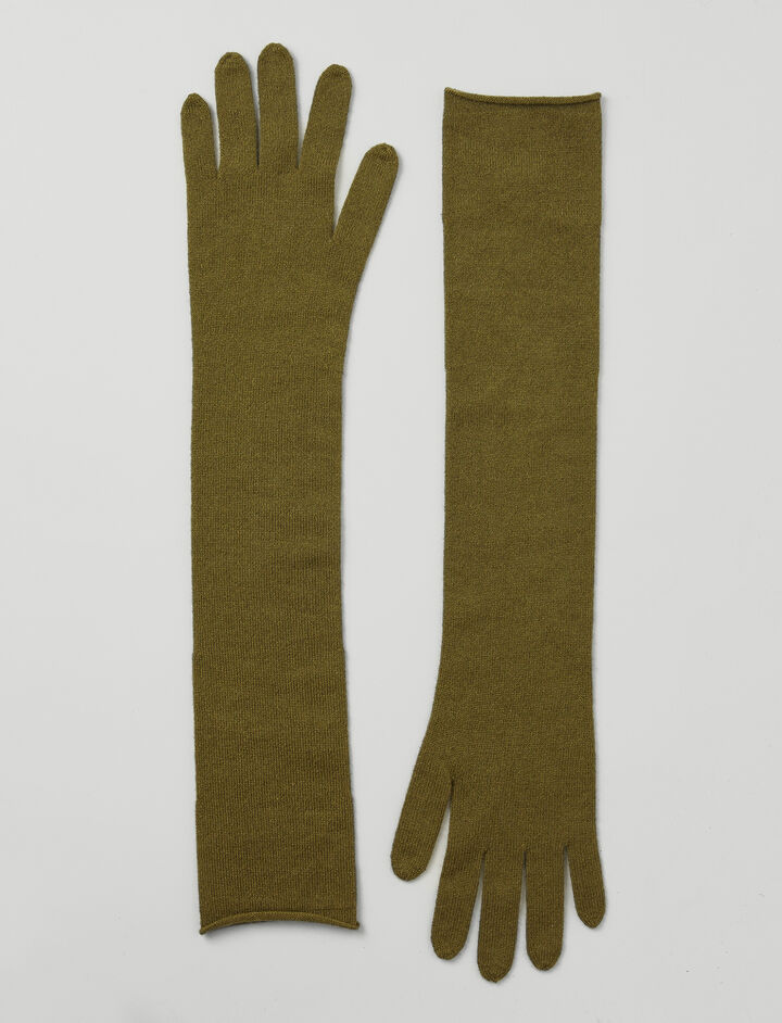 Mongolian Cashmere Gloves, in ARMY, large | on Joseph