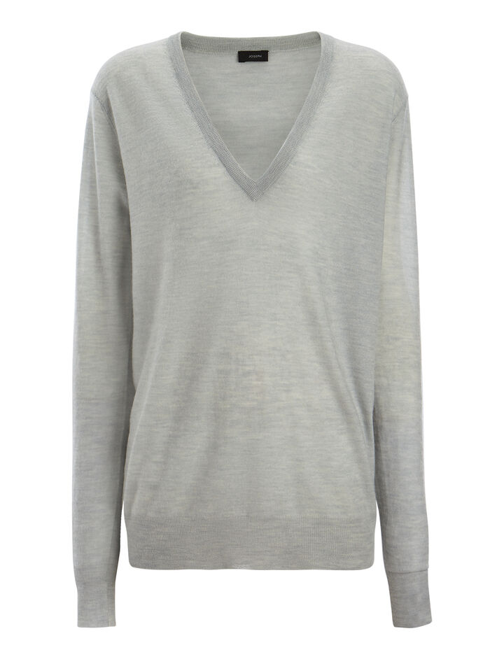 Cashair V Neck Sweater, in WATERGREEN, large   on Joseph