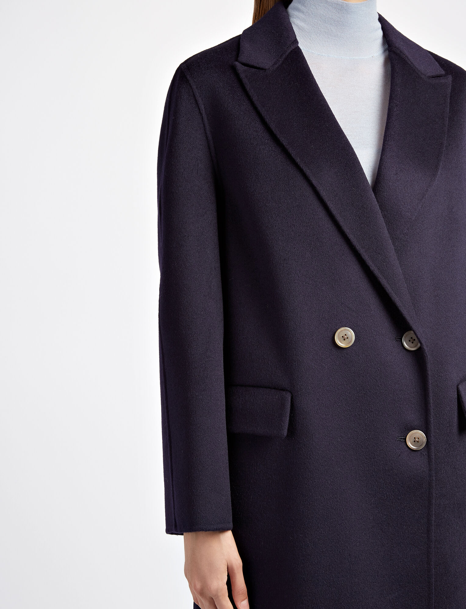 Pure Cashmere Kino Coat, in NAVY, large | on Joseph