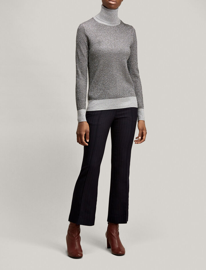 Joseph, High Neck Lurex Knit, in GREY