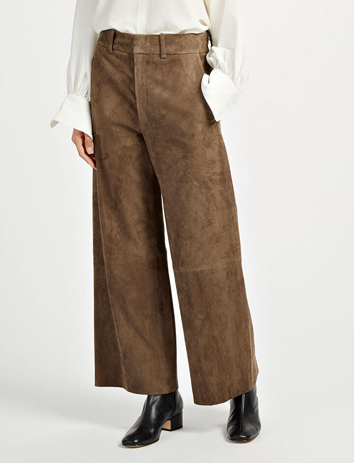 Suede Stretch Ferrandi Crop Trousers, in TAUPE, large | on Joseph