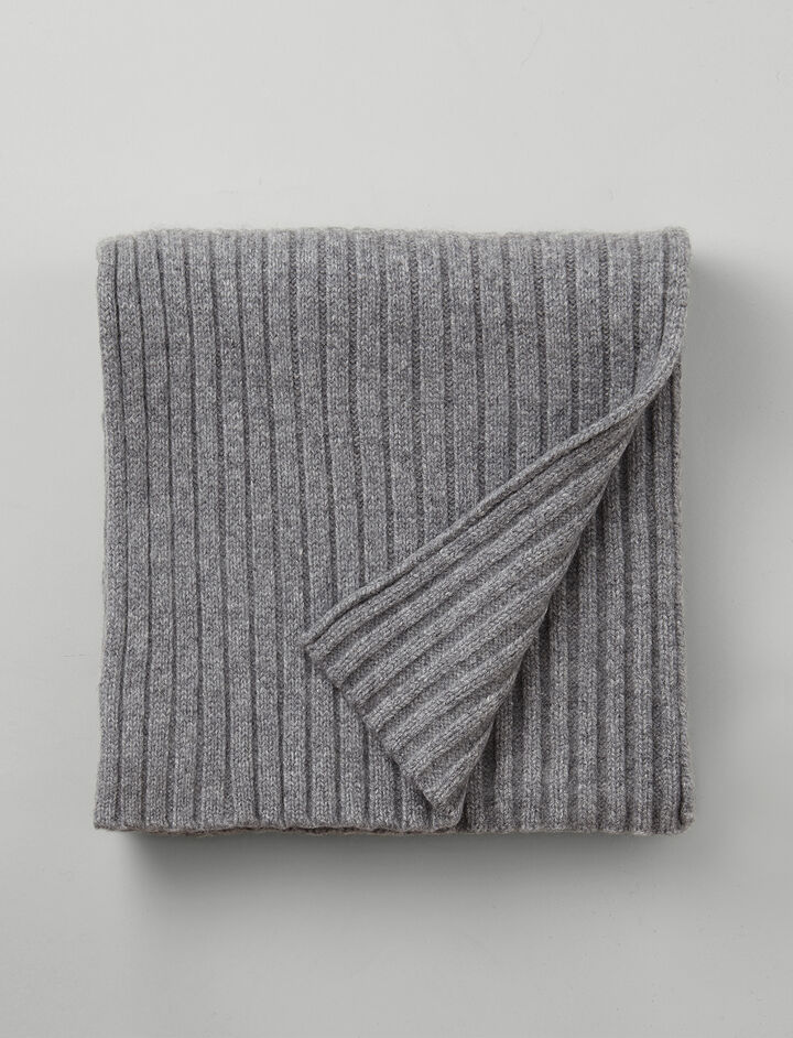 Cashmere Luxe Rib Scarf, in CONCRETE, large | on Joseph